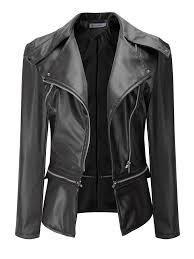 trendy casual zipper turn down collar women leather jackets newchic