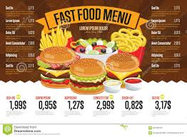 free food menu templates fast food menu template stock vector illustration of template