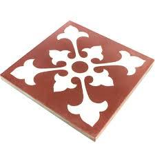 Kitchen Floor Tiles Belfast Cement Antique Tiles 20x20cm Ornament Red White Pl78195