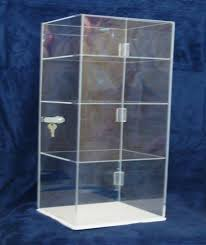 details about acrylic countertop display case 8 x8 x20 5 locking security showcase shelves