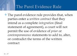 Parol Evidence Rule Chart Chapter 16 Writing