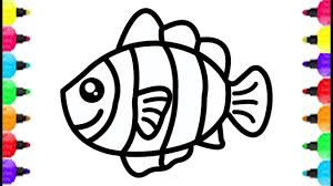 Cute Fish Coloring Page Drawing Fish Coloring With Glitter Color