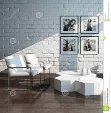 Minimalist Living Room Minimalist Living Room Interior With White Brick Wall Stock