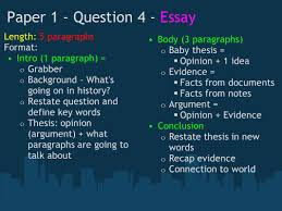 the ib history test what does paper look like ppt  paper 1 question 4 essay length 5 paragraphs format intro 1