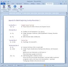 Agenda Template Word 2013 Import Google Calendar To Excel And Word