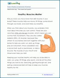 Worksheets and no prep teaching resources health science. Healthy Muscles Matter Grade 3 Children S Story K5 Learning