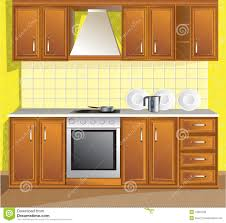 Kitchen Room Furniture Vector New Kitchen Room Furniture Isolated Royalty Free Stock