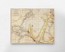 Vintage Nautical Charts Vintage Nautical Anchor Map Art Print Poster Antique Nautical Chart