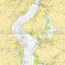 New Jersey Salem Delaware River Nautical Chart Decor