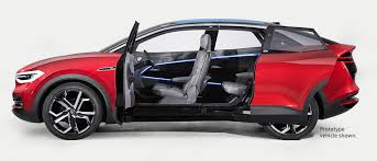 if the i d buzz was the look back at volkswagen history the i d crozz offers a fashionable sneak k of the future its sleek four door coupe shape has