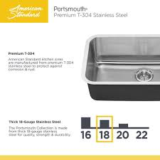American Made Kitchen Sinks American Standard Portsmouth Undermount Stainless Steel 18 In