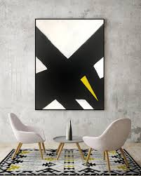 abstract black and white yellow canvas painting for modern room modern living room modern bedroom art abstract black and white dining room on black grey and yellow wall art with abstract black and white yellow canvas painting for modern room