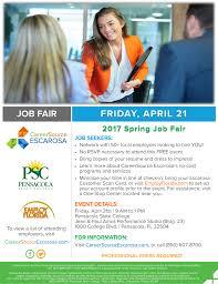 upcoming job fairs events careersource escarosa 2017 spring job fair job seeker flyer