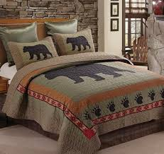 rustic bear paw 3pc full queen size quilt set