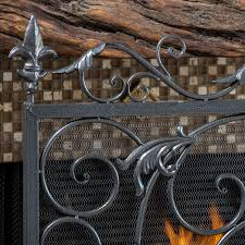 uniflame single panel antique gold cast aluminum fireplace screen