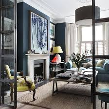 Navy Blue Living Room Ideas House To Home Navy Living Room With Large Scale  Art Fireplace And White.