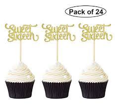 Sweet 16 Cupcake Picks Giuffi Silver Sweet 16 Cupcake Toppers