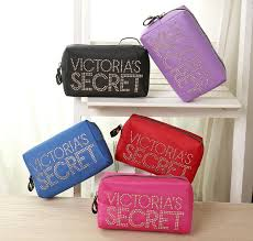 victoria s secret orted color logo satin pouch cosmetic bag ready