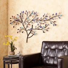 details about large colorful tree wall art sculpture metal branches glass leaves stones boho