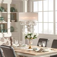 inspire q silver mist hanging crystal drum shade chandelier by classic com