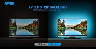 amir tv led light strip 30 led tv backlight strip usb bias monitor lighting changing color strip kit accent light set waterproof bias lighting for tv