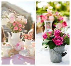 If you own a tea set, use it as your centerpieces on your dining table by  placing pink and white roses into the teacups. Or, use tin pitchers and  buckets as ...