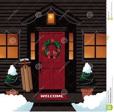 christmas front door clipart. Wonderful Front Download Christmas Front Door With Sleigh Wreath And Trees Stock Vector   Illustration Of Blog Throughout Clipart A