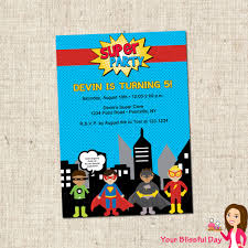 superheroes party invites printable superhero party invitations by yourblissfulday on etsy