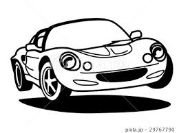 ライトウェイトスポーツカー モノクロのイラスト素材 29767790 Pixta