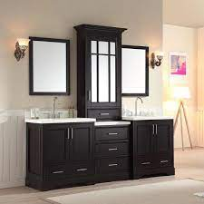 Ariel Stafford 85 In Bath Vanity In Espresso With Quartz Vanity Top In White With Under Mount Basins And Mirrors M085d Esp The Home Depot