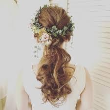外国人風ヘアー 花かんむり花冠ハワイヘアメイクハワイ挙式ハワイ