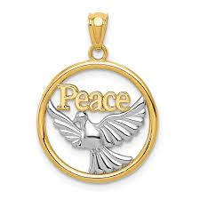 14k yellow gold rhodium plated polished peace dove pendant weight 1 25 length 21 width 18