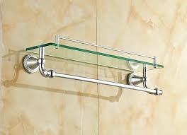 bright bathroom shelves wall mounted chrome polished bathroom glass shelf wall mount cosmetic holder with towel