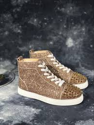 Glitter Bottom Shoes Designer Gold Spikes Glitter Sneakers Shoes Luxury Designer Red Bottom High Top Man Brand Fashion Comfortable Casual Walking Red Sole Dust Bag Mens Boots