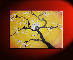 family tree painting customized personalized art grandpas pas children birds great gift idea pick your colors