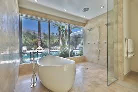 freestanding bathtub with a view