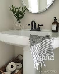 powder room makeover pedestal sink