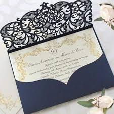 Elegant Invitation Cards Elegant Invitation Cards Laser Cut Navy Blue Pocket Wedding