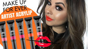 make up for ever artist acrylip lip paint swatches all 10 shades you