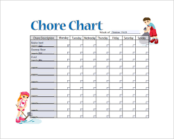 Chore Charts For Adults Printable 13 Sample Weekly Chore Chart Templates Free Sample