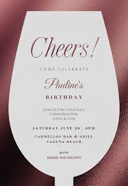 Design And Print Invitations Online Free Wine Glass Birthday Invitation Template Free In 2019
