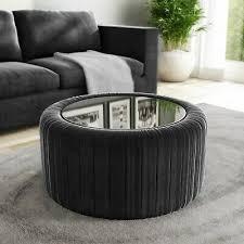 dark grey velvet coffee table with