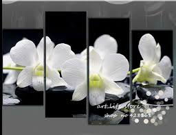 2018 4 panel wall art pictures botanical red feng shui white orchid oil painting on canvas the picture for living room decoration from carefreeshopping  on orchids wall art with 2018 4 panel wall art pictures botanical red feng shui white orchid