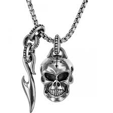 scott kay sterling silver skull and sparta dagger necklace
