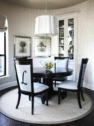 most dining room rugs come in rectangular shapes but any other shape can fit in perfectly as long as your furniture is comfortable on the rug a round rug