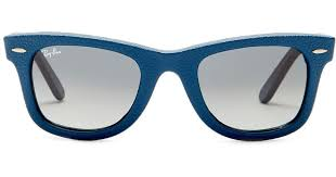 ray ban men s icons craft wayfarer leather polarized sunglasses in blue for men lyst