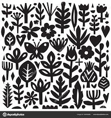 紙の花要素素材の花柄ベクトル植物シルエット北欧スタイル植物