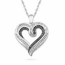 t w enhanced black and white diamond heart shaped pendant in