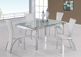 elegant glass dining table with white chairs novara round set