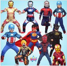 Superhero Kids Muscle Captain America Costume Avengers Child Iron Man  Cosplay Super Hero Halloween Costumes For